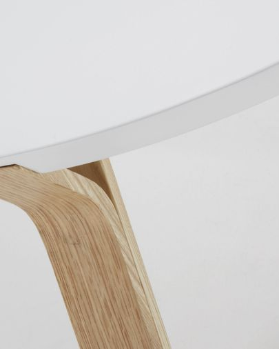 Table basse Dilos Ø 90 cm blanc et frene