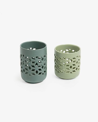 Leti set of 2 candleholders green