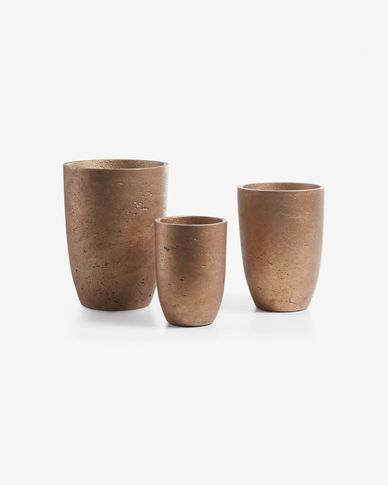 Low set of 3 planters copper