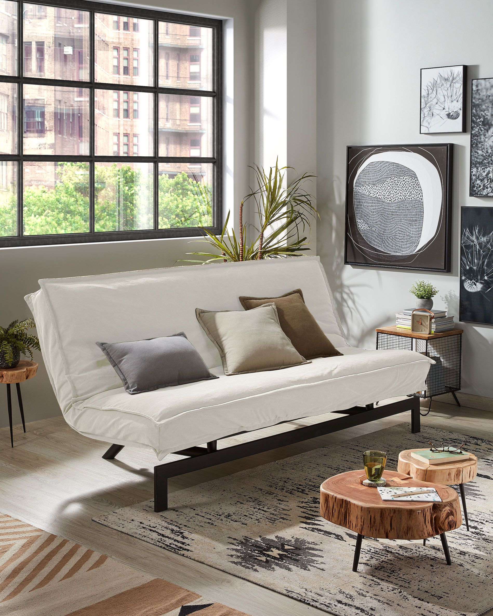 eveline sofa bed 140 cm white metal structure