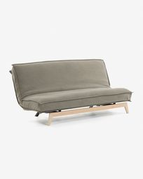 Eveline sofa bed beige wood structure