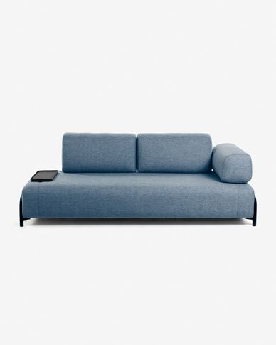 Blue 3 seaters Compo sofa wiht small tray 232 cm