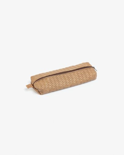 Foa pencil case with zipper light brown faux leather