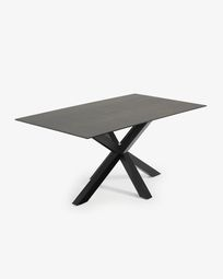 Argo table 180 cm porcelain Iron Moss finish black legs
