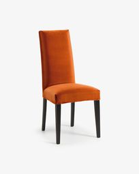 Chaise Freda velours orange et noir