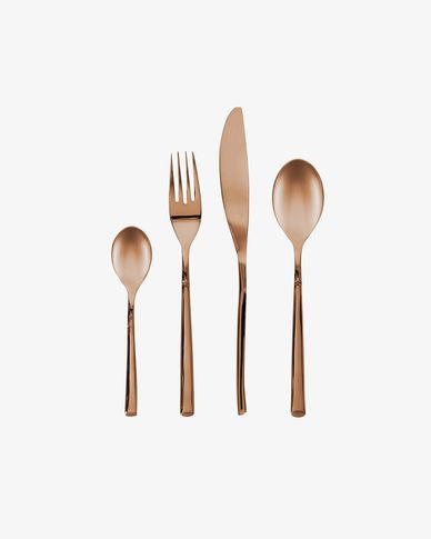 Kelda square handle 16-piece coppery cutlery set