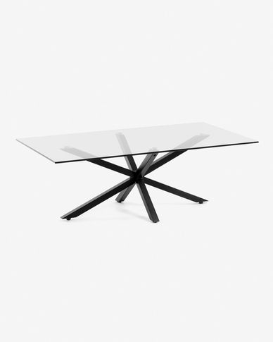 Argon coffee table glass black legs 130 x 70 cm
