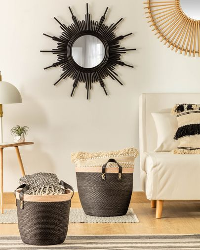 Set of 2 baskets Kysna black and beige