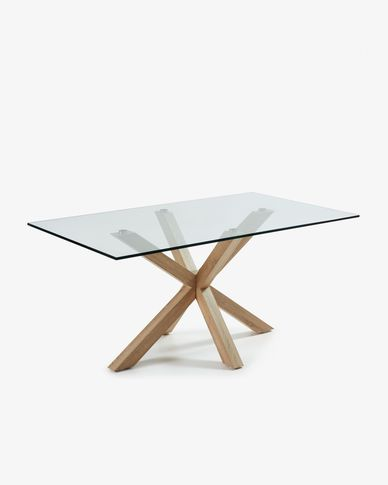 Argo 180 cm glass table with wood effect legs