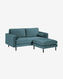 Debra turquoise velvet 2 seaters sofa with pouf 182 cm