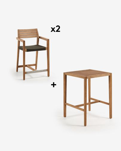 Square Coline Table Pack with Two 62 cm Tess Stools