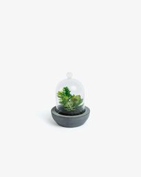 Artificial succulent mix in ceramic and glass pot