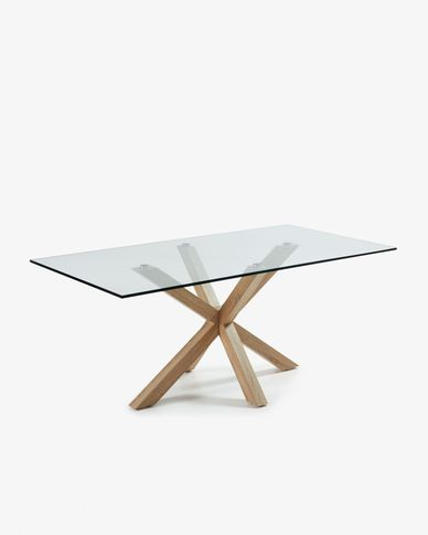 Argo table 200 cm glass wood effect legs