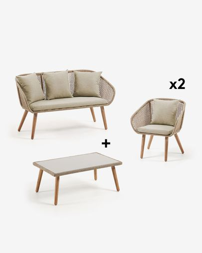 Gilded Sofa Pack with Chair and Coffee Table