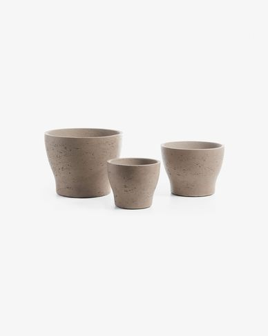 Low set of 3 planters light brown