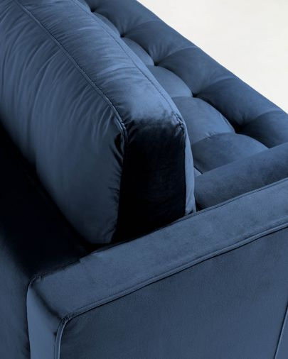 Debra blue velvet 3 seaters sofa with pouf 222 cm