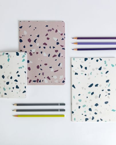 Notebook Myle DIN A6 60 pages blue and white terrazzo