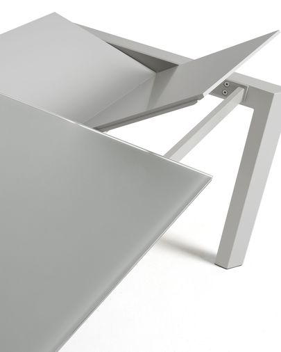 Extendable table Axis 140 (200) cm gray glass gray legs
