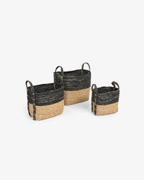 Set of 3 baskets Kysna dark grey and brown