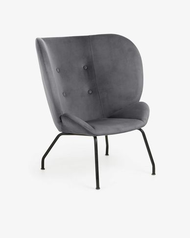 Dark grey velvet Violet armchair