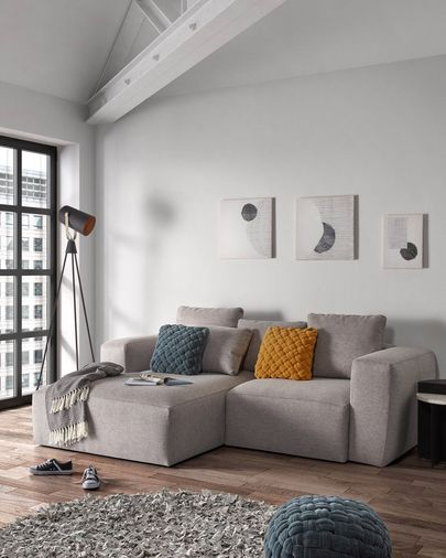 Light grey 2 seaters Blok sofa with left chaise longue