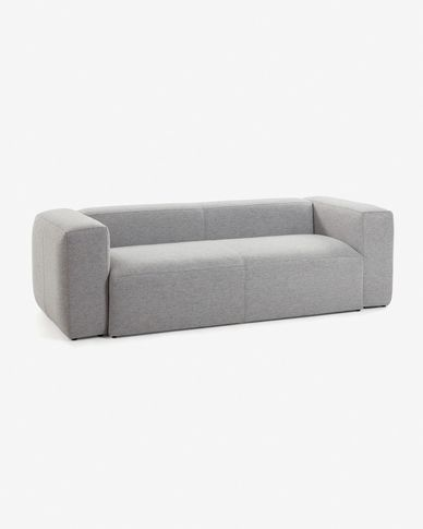 Light grey fabric 2 seaters Blok sofa 210 cm