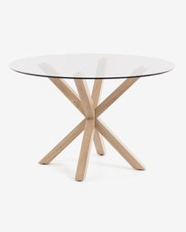 Table Full Argo Ø 119 cm verre pieds naturel