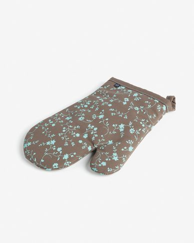 Oven mitt Shire turquoise and brown with flowers