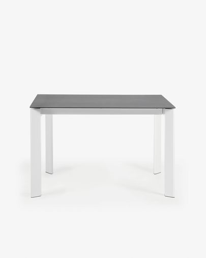 Extendable table Axis 120 (180) cm porcelain Vulcano Roca finish white legs