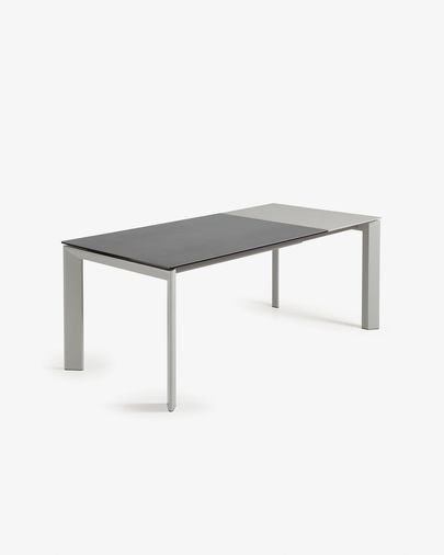 Extendable table Axis 140 (200) cm porcelain Vulcano Roca finish gray legs