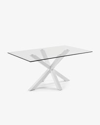 Argo table 160 cm glass white legs