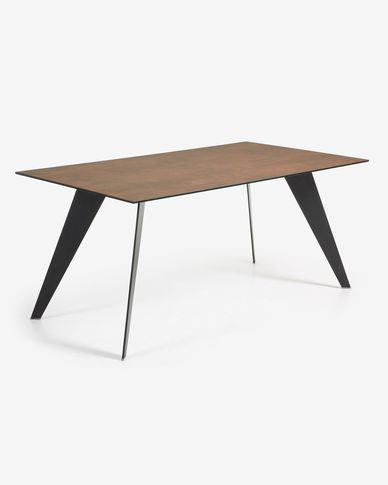 Koda table 200 cm glass black legs