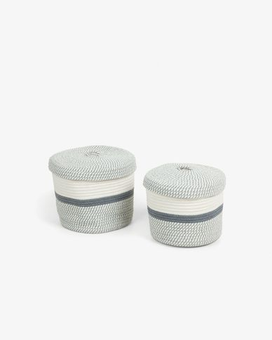 Set of 2 baskets with cover Katja