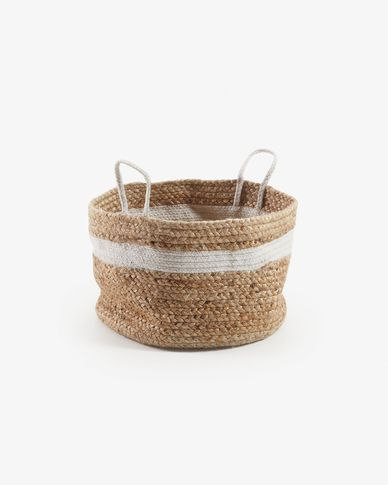Saht basket natural and white