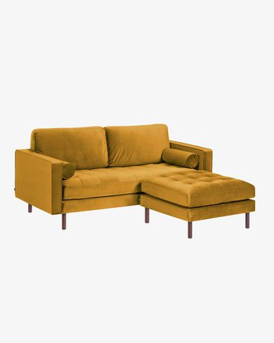 Debra mustard yellow velvet 2 seaters sofa with pouf 182 cm