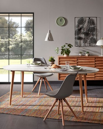 Oqui extendable oval table 140 (220) x 90 cm white