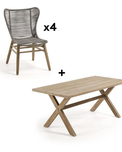 Chiara 90 x 190 cm Table Pack with 4 Grey Zabel Chairs
