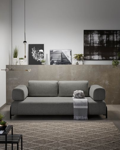Dark grey 3 seats Compo sofa with small tray 232 cm