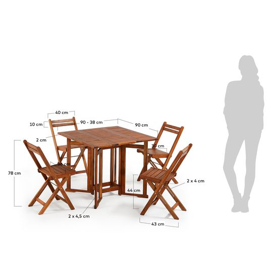 Tremendous Gustave Table Set And 4 Folding Chairs Kave Home Dailytribune Chair Design For Home Dailytribuneorg