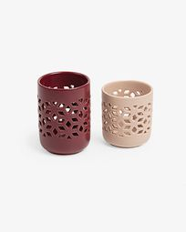 Leti set of 2 candleholders burgundy and pink