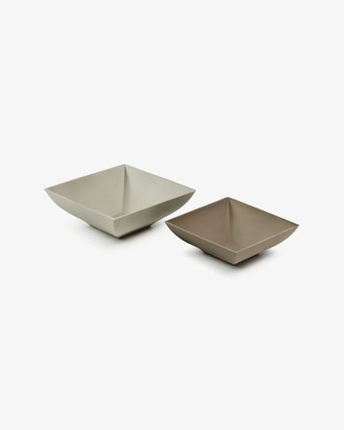 Marta set of 2 bowls beige and brown