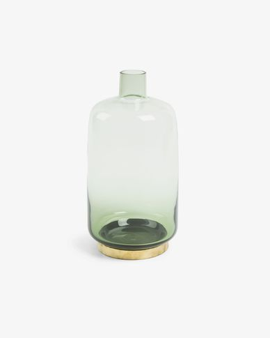 Janae vase, green glass 33 cm brass detail