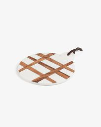 Bulacan round cutting board white marble with handle