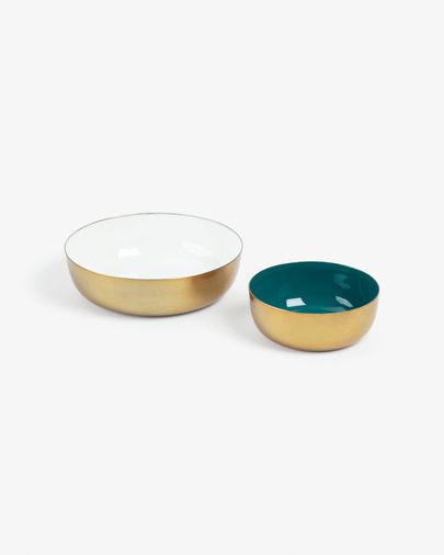 Set of 2 white and green Flurry bowls