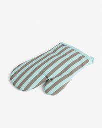 Oven mitt Shire turquoise and brown stripes