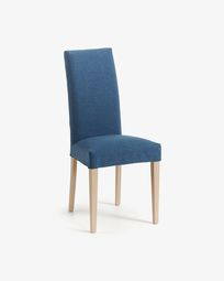 Freda chair dark blue and natural