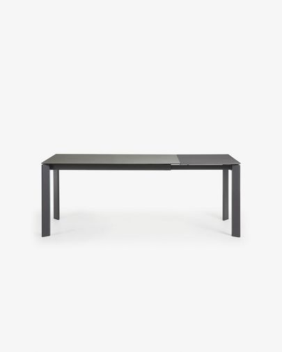 Table extensible Axis 140 (200) cm grès cérame finition Hydra Plomb pieds anthracite