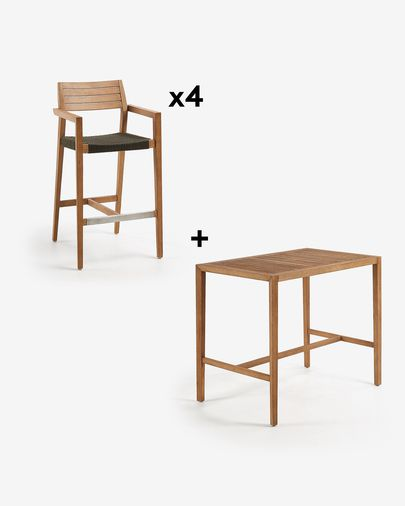 Rectangular Coline Table Pack with four 77 cm Tess Stools