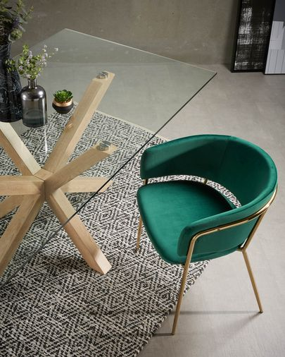 Runnie green velvet armchair