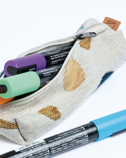 Pencil case Foa beige fabric colored circles with zipper